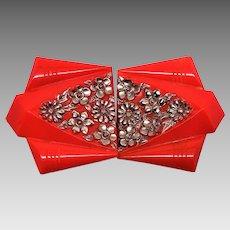 Rare Signed Czechoslovakia Red Glass Sash Buckle
