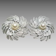 "SARA COVENTRY ""Pinwheel"" Clip Earrings Simulated Pearls & Silver Plate"