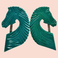 Amazing Green Carved Horse Celluloid Buckle set