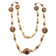 Delicate Venetian Murano Art Glass Lampwork Bead Necklace Wedding Cake Beads Gold Washed