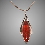 Sterling Silver 925 Long Amber Pendant Necklace