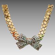 Retro basket weave choker necklace with Rhinestone Bow