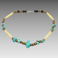 Turquoise, bone and brass necklace