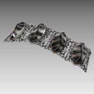 Selro style Panel Bracelet with Zebra Striped Panels