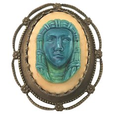 Victorian Turn of Century Egyptian revival Pharaoh Brooch Pin Old C hook