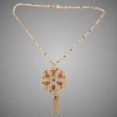 Pink Rhinestone Brooch Pin Fringe necklace with rhinestone embellished neck chain