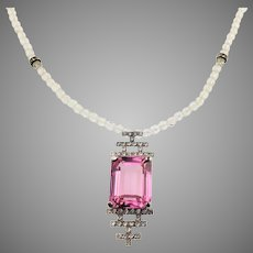 Art Deco Crystal and Pink Rhinestone Necklace