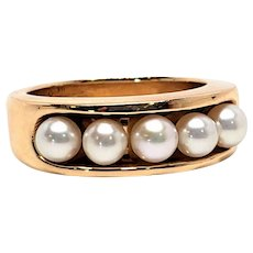 14K and Pearl ring size 6.5  Heavy 9.6 grams