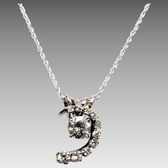 Stunning 14K White Gold and Diamond Whimsy  2 in 1 Pendant Necklace