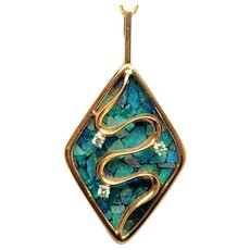 Amazing 14K Opal Diamond and Onyx Reversible Pendant Necklace