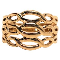14K signed Stuller Stacked Knots Solid Gold Ring 6.26