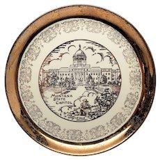 Montana State Souvenir Plate Sabin Crest-O-Gold 22 K Border