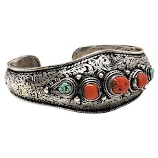 Sterling  Asian Chinese Coral Turquoise Cuff bracelet
