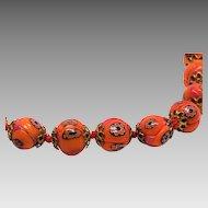 Stunning Orange Millefiori Murano glass Melon BEAD Choker Necklace