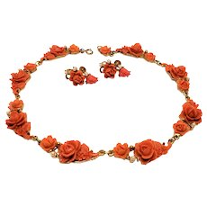 Vintage 1930s Carved faux Coral Rose Necklace Earrings set