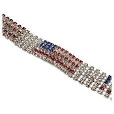 Vintage Patriotic American Flag Swarovski Crystal Rhinestone Tennis Bracelet