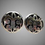 Sterling Fleur-de-Lis Sterling Screwback Earrings