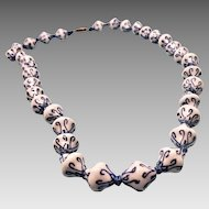 Gorgeous Porcelain Chinese Hand Tied Necklace Unusual Beads Vintage 50s