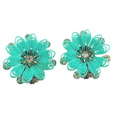 1960'S Blue Early Soft Plastic and Rhinestone DAISY Flower Clip Earrings