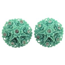 1960'S Blue Green Celluloid Plastic and Rhinestone  Flower Clip Earrings