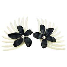 1960'S White and Black Early Soft Plastic and Rhinestone Feather and Flower Clip Earrings