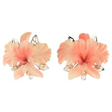 1960'S Large Hard Plastic and Rhinestone Iris Flower Clip Earrings