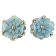 1960'S Blue Hard Plastic and Rhinestone Flower Clip Earrings