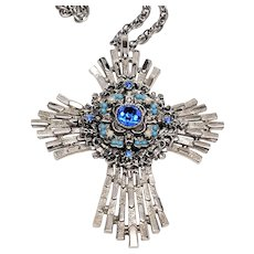"""Large silver Tone  Stacked 3D """"Jeweled"""" Maltese Cross Pendant Necklace"""
