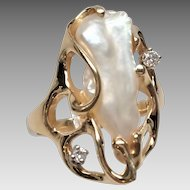 Signed STRELL 14K Yellow Gold Freshwater Pearl and Diamond Ring - Large Pearl - Size 6.5