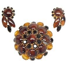 Striking Hobe' faux agate brooch and earrings set