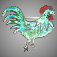 Sterling Mexico JF Margot enameled Rooster pin
