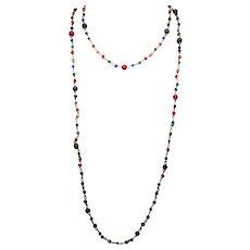 Flapper Art Deco Art Glass Bead Necklace Pair