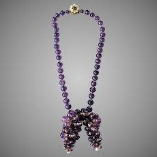 Lovely 1940s Purple Glass Grape Necklace