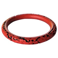 Chinese Carved Red Cinnabar Bangle Bracelet