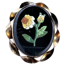 Victorian Onyx Floral Micro Mosaic Brooch