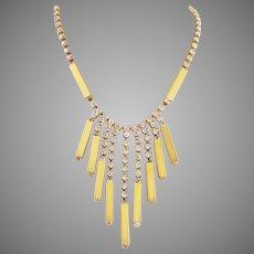 Modernist Rhinestone Long Dangle Necklace