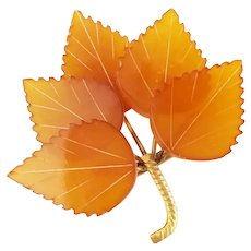 Lucite Reverse Carved Multi Leaf  Pin / brooch
