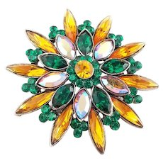 Signed Weiss regal Brooch with Green,Amber Gold,and Aurora Borealis  rhinestones