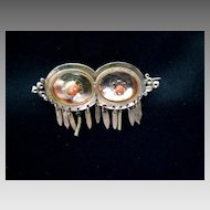 Victorian rolled gold and coral repousse pin