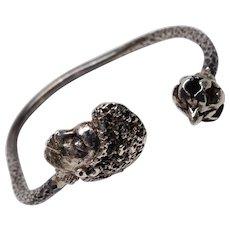Brutalist African American Sterling Cuff Wrap Bracelet