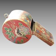 Amazing old cloisonne large brass working Whistle / pendant