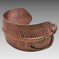 Stunning Custom Copper Feather Cuff Bracelet