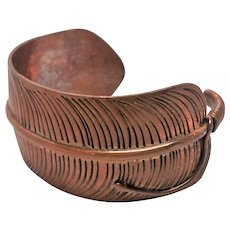 Stunning Custom Copper Feather Cuff Bracelet