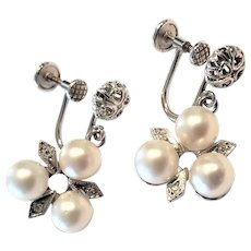 Vintage 14k White Gold Cultured Pearl and Diamond Drop Dangle Earrings ~ Screw Backs