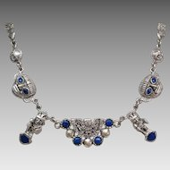 Intricate Sterling Lapis Mayan Aztec necklace