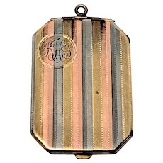 Edwardian Tri Color Gold filled Striped Rectangular Pendant Locket with photos