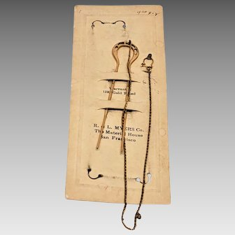 Victorian Eyeglasses - Hair Pin - Chatelaine Chain & Hook - 12K Gold Filled  New On Card