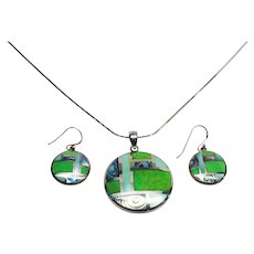 Stunning Zuni Inlaid Abalone and Gaspeite Sterling Pendant and Pierced Earrings