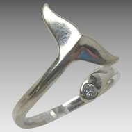 14k White Gold Whale Tale diamond ring 6.5