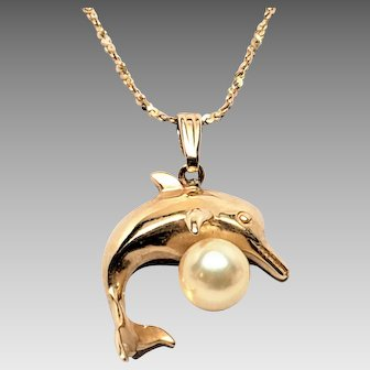 Stunning Large 14K Dolphin Pendant with Pearl
